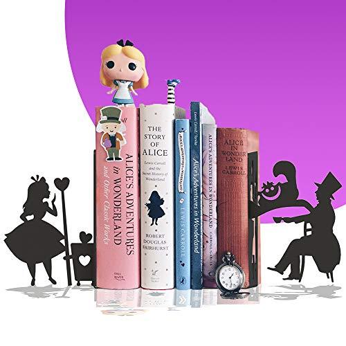 Suporte para livros, Aparador Alice, chapeleiro louco, gato, PeculiArtes