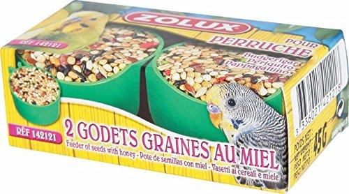 ZOLUX - Graines pour PERRUCHES 45 Gr Godets de graines au MIEL spécial PERRUCHES x 2
