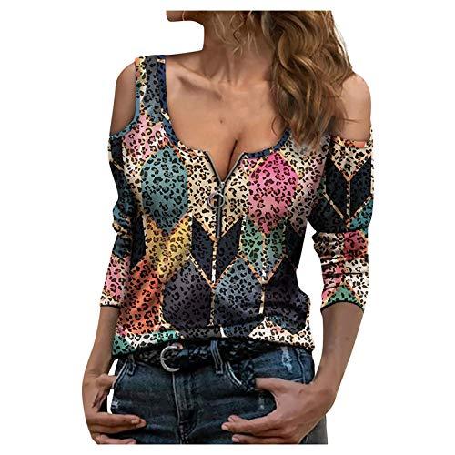 HWTMKJ Blusa sexy con cuello en V y manga larga con cremallera estampada y estampado informal para mujer