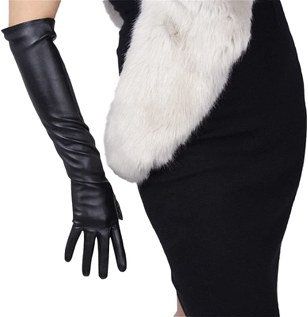 WBDL Sexy Touch Screen Gloves Winter Women PU Black 50cm Long Leather Thin Full Finger Warm Driving Mittens (Color : Black, Size : Small)