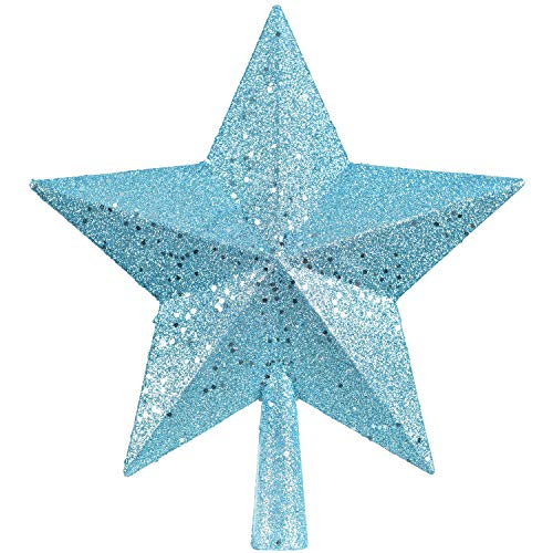 Artiflr 10Inch Christmas Tree Topper, Star Tree Topper Glittered Christmas Tree Decorations for Indoor Home Décor (Blue)