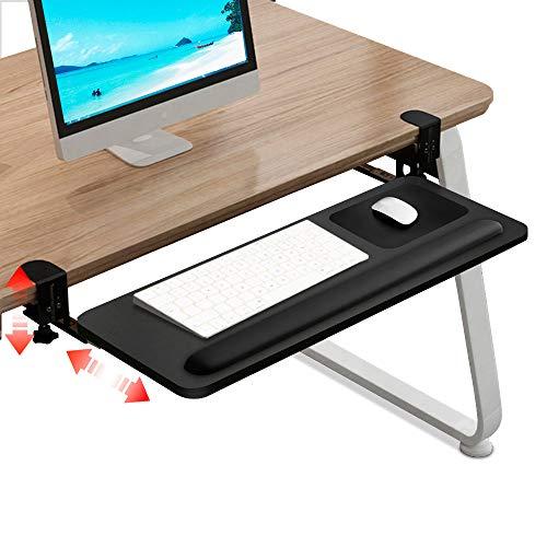 "Muvteens Clamp on Keyboard Tray Under Desk Keyboard Drawer, Adjustable Desk Extender Ergonomic Underdesk Keyboard Slide, Upgraded Office Home Keyboard Shelf No Screws into Desk (26""x10"", Black)"