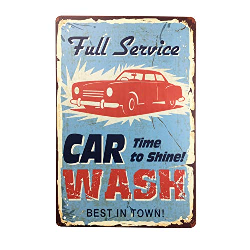 "Angeloken Vintage Style Tin Sign - Full Service CAR TIME to Shine WASH Best in Town - Bar Pub Garage Diner Cafe Home Wall Decor Art Tin Signs Vintage, 8"" W x 12"" H"