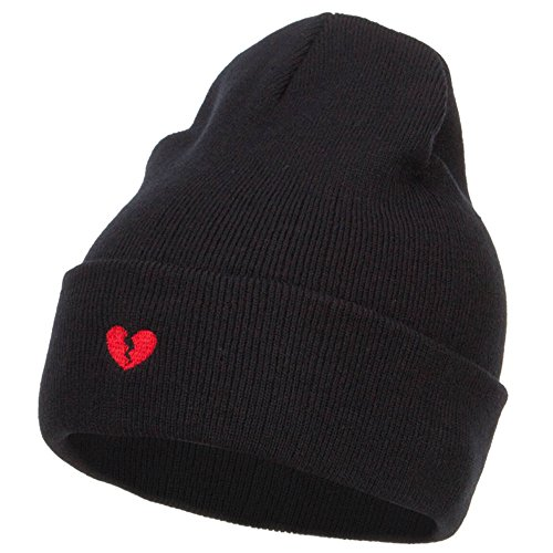 e4Hats.com Mini Broken Heart Embroidered Long Beanie - Black OSFM