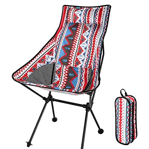 Aceshop Sedia da campeggio pieghevole con borsa per il trasporto, compatta, ultraleggera, da spiaggia, portatile, alta resistenza, per escursioni, 150 kg