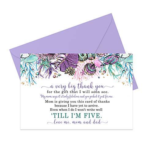 Dankeskarten für Babyparty, Meerjungfrau, Mädchen, kleine Meerprinzessin, Größe A6, flach, Briefpapier-Set mit Umschlägen, Violett und Blaugrün