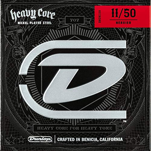 Dunlop DHCN1150 Heavy Core Nickel Wound Guitar Strings, Heavier, .011–.050, 6 Strings/Set