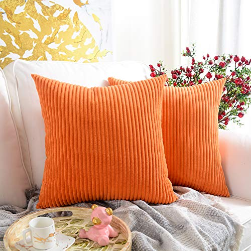 MERNETTE Pack of 2, Corduroy Soft Decorative Square Throw Pillow Cover Cushion Covers Pillowcase, Home Decor Decorations For Sofa Couch Bed Chair 16x16 Inch/40x40 cm (Striped Orange)