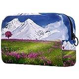 Estuche Multifuncional con Cremallera Durable Bolsa de Cosméticos Bolsa de Papelería Bolsa de Viaje Montaña de la Nieve del jardín 18.5x7.5x13cm