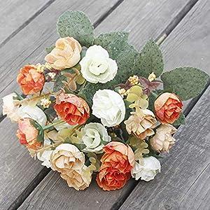 Barley33 21 Cabezas Artificiales Flores de Seda Rosa Elegante Elegante Ramo de Flores Europeas decoración
