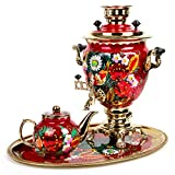 Daisies On Red Electric Russian Samovar Set with Tray & Teapot Tea Maker