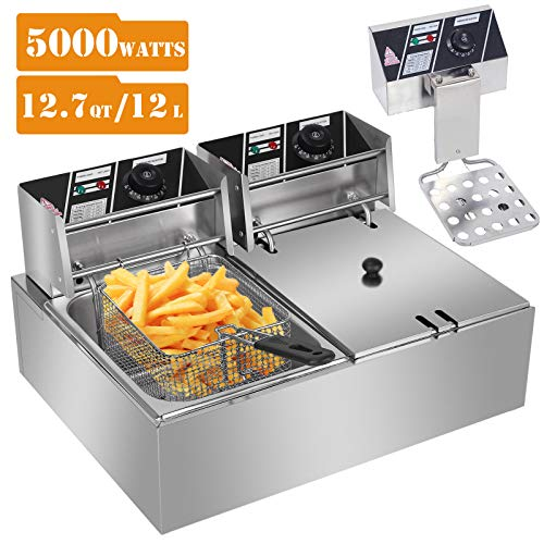 Commercial Deep Fryers with Basket and Temperature Control, Electric Stainless Steel Countertop Deep Fryer for Home Restaurant French Fries Fish Turkey (US STOCK) (Silver, 2 x 6L)