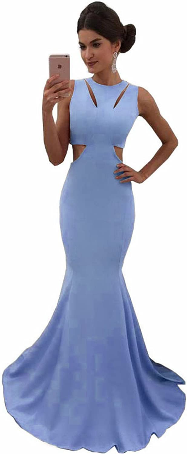 MariRobe Women's Sleeveless Mermaid Evening Party Gowns Cutaway Side Fitted Prom