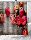 YEDL Obst Äpfel Duschvorhang Moderne Stoff Badvorhänge Home Decor Gardinen 180 × 180Cm
