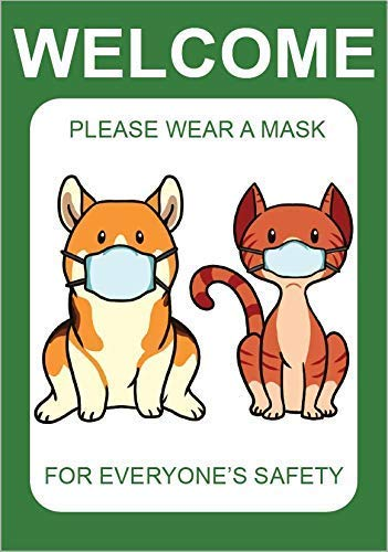 """Cat & Dog 3 Pcs 10"""" x 7"""" Window or Glass Door Decals Sticker Cling Face Mask Required Sign Please Wear Mask Double Sided Mask Required Easily Removable Proudly Designed in USA Friendly Creative Cute"""