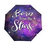 Inspirational Galaxy Star Sky Paraguas de viaje para niñas y hombres con apertura automática pequeña a prueba de lluvia 3 paraguas plegable para mujer con protección UV