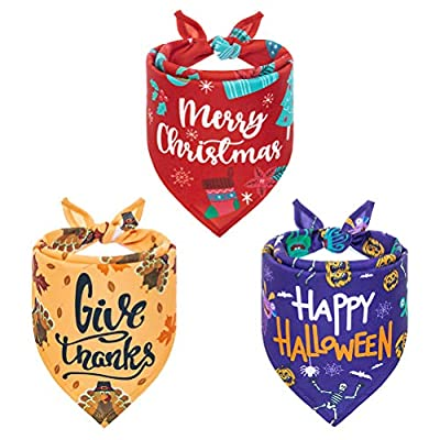 PAWCHIE Festival Dog Bandana 3 Pack for Halloween, Thanksgiving and Christmas - Adjustable Soft Pet Triangle Scarf with Festival Element Patterns for Small Medium Large Dogs