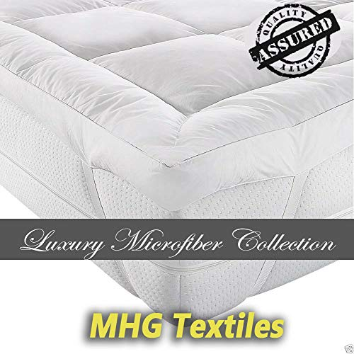 MHG Textiles Super Soft Thick Microfiber Mattress Topper/Mattress Protector (Double, 900g Fill)