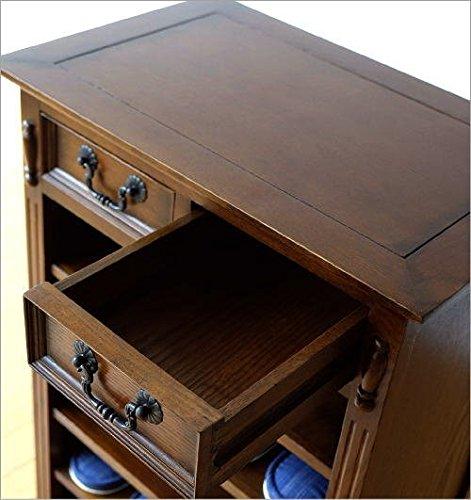 スリッパラック木製無垢材おしゃれ玄関収納天然木棚板可動式オークスリッパラックB[diz8734]