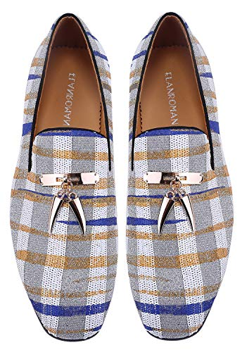 ELANROMAN Dress Loafers Shoes for Men Hip-hop Fashion Houndstooth Shoes with Handmade Tassels Party Wedding Prom Shoes US 12 EUR 46 Feet Lenght 305mm White