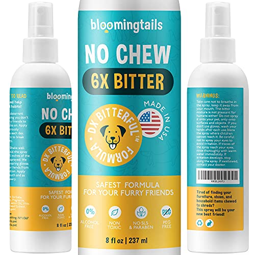 No Chew Spray for Dogs - The Natural Bitter Anti Chew Remedy for Training Puppies, Dogs and Cats -...