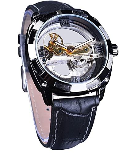 QHG Moda de la Ciudad Steampunk Oficial Limited Skeleton Skeleton Reloj automático