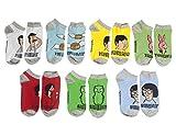 Ripple Junction Bob's Burgers Novelty Ankle Socks For Men or Women - 7 Pairs of Novelty Socks