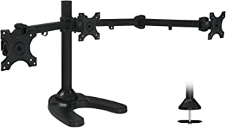Mount-It! Triple Monitor Stand   3 Monitor Stand Mount   Free Standing and Grommet Bases   Fits 19 20 21 22 23 24 Inch Computer Screens   Three Heavy Duty Adjustable Arms   VESA 75 100 Compatible