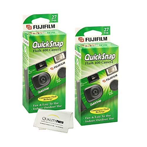 Fujifilm QuickSnap Flash 400 Disposable 35mm Camera (2 Pack) Bonus Hand Strap + Quality Photo Microfiber Cloth