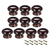 Sourcing Map - Pomos redondos de madera, 10 unidades de 35 mm de diámetro para muebles de cocina, tiradores para aparador, armario de cajón, color marrón oscuro