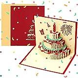 Biglietto di auguri pop-up 3D per lei, marito, moglie, papà, mamma, fatto a mano, con torta a 3 strati, per bambini, uomini e donne, biglietto di auguri piegato, con busta per compleanno, Natale
