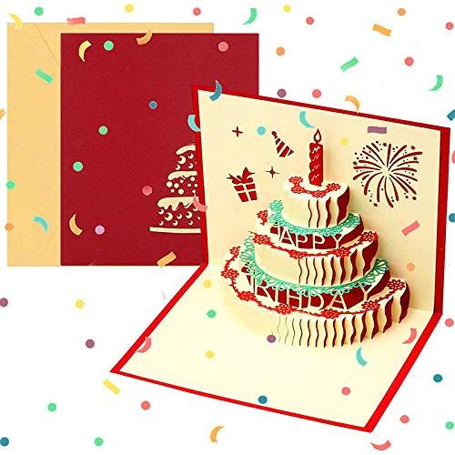 Biglietto Auguri Compleanno, 3D Pop Up Biglietti di Auguri Compleanno con Torta a 3 Strati per Papà...