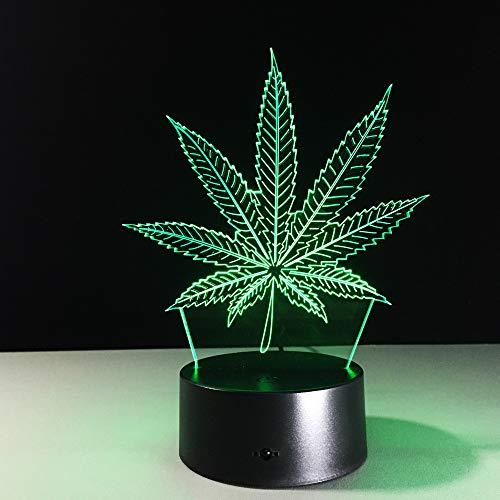 BFMBCHDJ Neu Die Blätter Mit Schlüsselbund Acryl 3D Nachtlicht Baby 7 Farbe Chang USB DeskLamp Tisch Nachtlicht Wohnkultur 3D Lampe