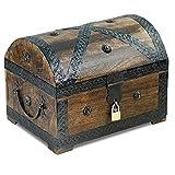 Brynnberg - Caja de Madera Cofre del Tesoro con candado Pirata de Estilo Vintage, Hecha a Mano, Diseño Retro 28x20x20cm