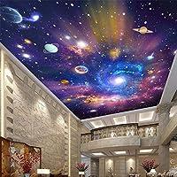 3D天井壁画壁紙色宇宙空の背景の壁現代壁画ホテル天井壁紙-300cm(W)x250cm(H)