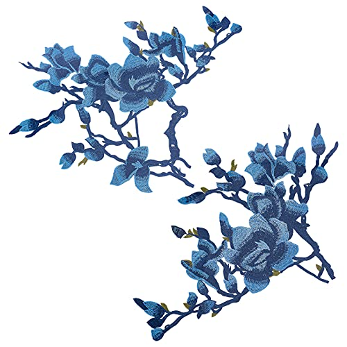 GORGECRAFT 1 Par Parches Bordados Flores, Parches de Flores de Peonía Azul para Ropa Coser para Jeans Ropa Sombrero Zapatos