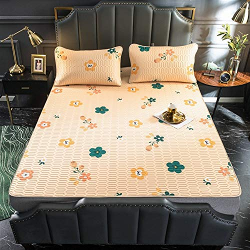 LiuliuBull W Double fitted sheet Summer Cooling Bed Mat Ice Silk Cooling Mattress Printing Foldable Soft Bedding Sets Sleep Pillowcase Bed Protector Mats (Color : 9, Size : 90x200cm 2pcs)