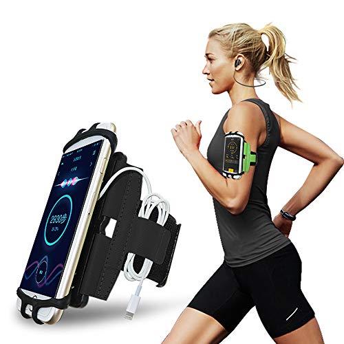 Brinny Sportarmband 180° drehbar Fitness bis 6.5 Zoll Handytasche Sport Universal für iPhone Huawei LG g6 Joggen Laufen Gym Armtasche Handy Halterung Running Schlüsselfach Laufarmband Handyhülle