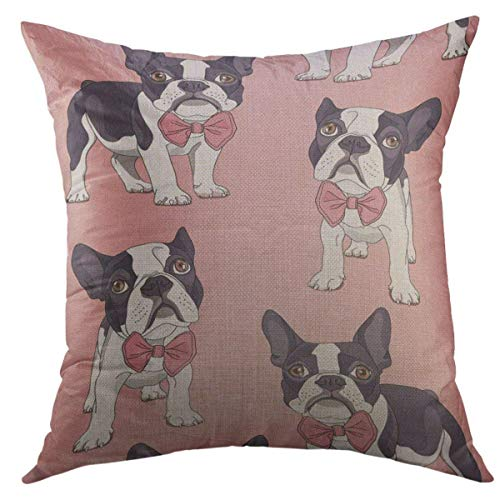 Mugod Decorative Throw Pillow Cover for Couch Sofa,Black Dog French Bulldog with Bow Tie on Pink Pet Home Decor Pillow case 18x18 Inch