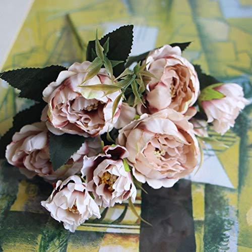 Fiori artificiali Shabby Chic Bouquet European Pretty Bride Matrimonio Piccoli Fiori Di Seta Peonia Mini Fiori Finti Economici Per La Decorazione Domestica Indoor