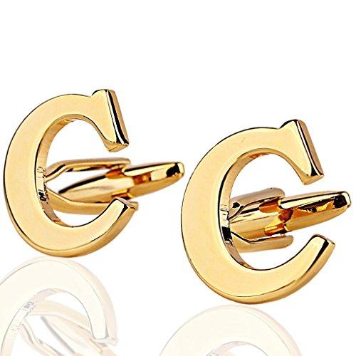 AMDXD Herren Hemd Manschettenknöpfe aus Hochglanz 18K Vergoldet Gold Buchstaben-C Cufflinks für Männer Hochzeit
