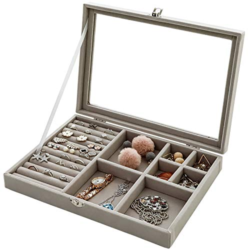 WJLED Transparent Dust-Proof Jewelry Box, Large-Capacity Jewelry Box, Dust-Proof Design, Suitable for Earrings, Rings And Jewelry Storage