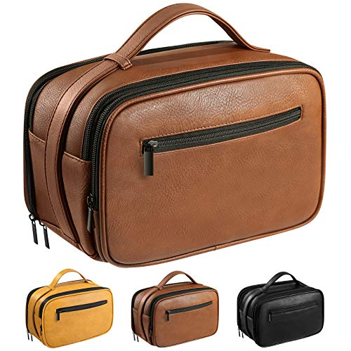 Mens Toiletry Bag, Travel Toiletry Organizer Dopp Kit Waterproof Shaving Bag for Toiletries Accessories,Brown