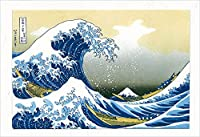 AAY23-2154 和風グリーティングカード/むねかた 「浪裏」 (中紙・封筒付) 台紙付