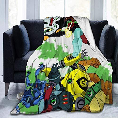 GOSMAO Batamanta Polar Suave y Acogedor Manta de Forro Polar a Cuadros de Cama y Sofa Anime B-en 127X102 cm