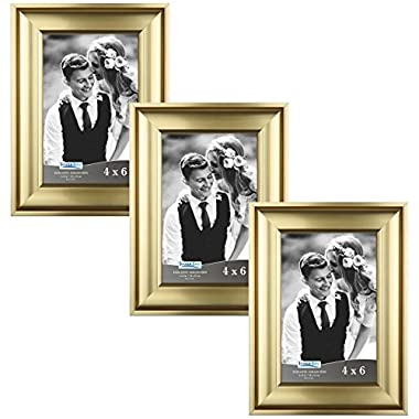Icona Bay 4 by 6 Picture Frames (4x6, 3 Pack, Gold) Photo Frames, Wall Mount Hangers and Black Velvet Back, Table Top Easel, Landscape as 6x4 Picture Frames or Portrait as 4x6, Elegante Collection