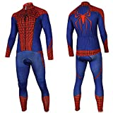 Cycle Clothes Set,Mens Spiderman Long Sleeve MTB Bike Clothing Pro Team Race Road Bicycle Jersey + Silica Pants Blue-M