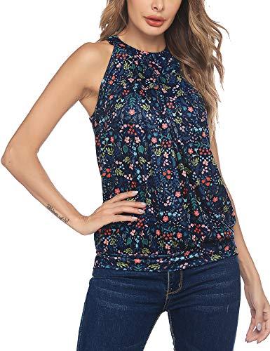 Parabler Camiseta de tirantes para mujer, con pliegues, sin mangas, túnica, suelta, informal, sexy, cuello halter Flores azules. XL