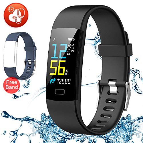 EFO SHM Fitness Armband mit Pulsmesser, Wasserdicht IP67 Fitness Tracker Farbdisplay Aktivitätstracker Armbanduhr Anruf SMS Whatsapp Beachten mit iPhone Android Handy