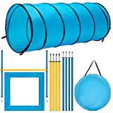 DEStar Dog Agility Equipment Pet Obstacle Training Course Kit with Tunnel Adjustable Hurdles